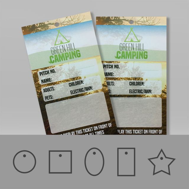 Printed Tear resistant swing tags in a waterproof, tough material suitable for outdoors.