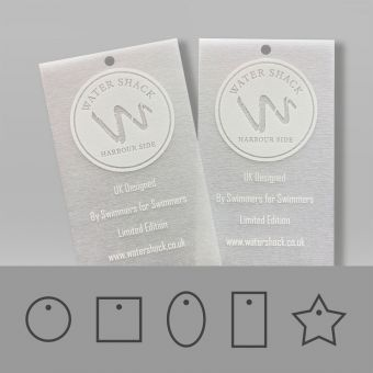 Swing tags in a tearproof material with a semi-translucent frosted appearance.
