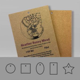 Brown kraft recycled swing tags, with a natural and rustic look.