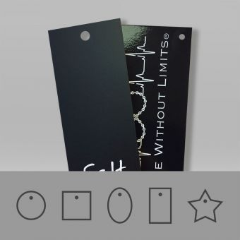 Durable, laminated hang tags with a tear resistant coating with a matt and gloss finish.