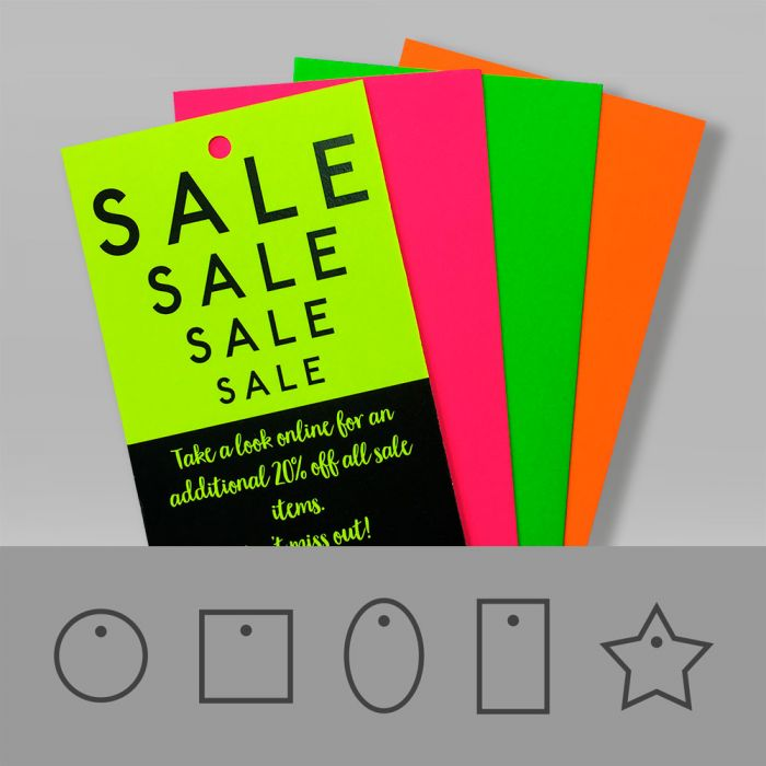 Fluorescent swing tags shown in a variety of glowing neon colours, orange, yellow, green and pink.