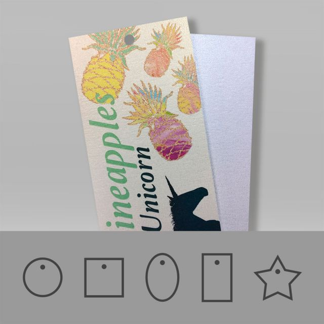 Sparkly hang tags printed on a white gold and ice silver material with a shimmering effect.