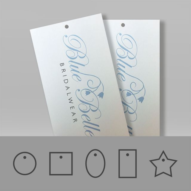 Swing tags printed on white recycled material with a natural uncoated texture.